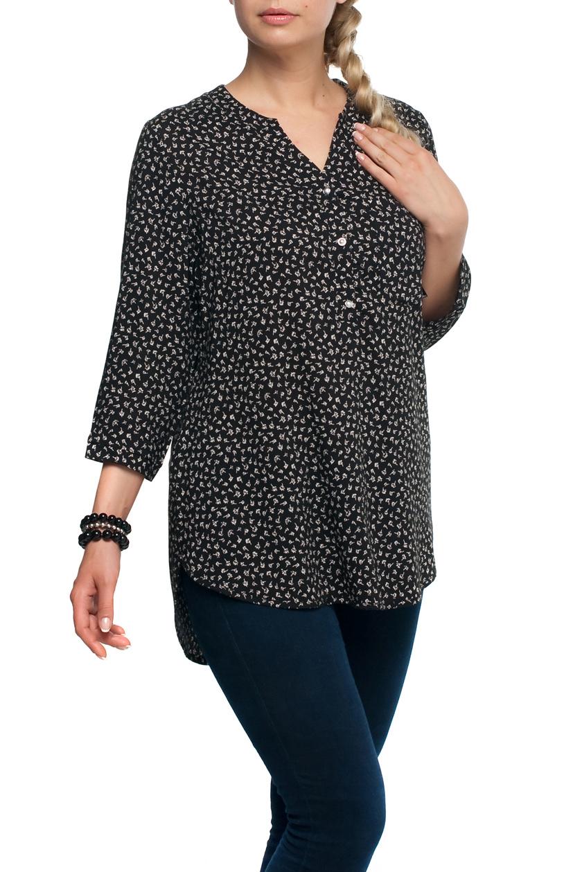 БлузаБлузки<br>Цветная блузка с рукавами до локтя. Модель выполнена из хлопкового материала. Отличный выбор для любого случая.  В изделии использованы цвета: черный, белый и др.  Рост девушки-фотомодели 173 см.<br><br>Горловина: Фигурная горловина<br>Застежка: С пуговицами<br>По материалу: Тканевые,Хлопок<br>По рисунку: Растительные мотивы,С принтом,Цветные,Цветочные<br>По сезону: Весна,Зима,Лето,Осень,Всесезон<br>По силуэту: Полуприталенные<br>По стилю: Повседневный стиль<br>Рукав: До локтя<br>Размер : 48,70<br>Материал: Блузочная ткань<br>Количество в наличии: 2