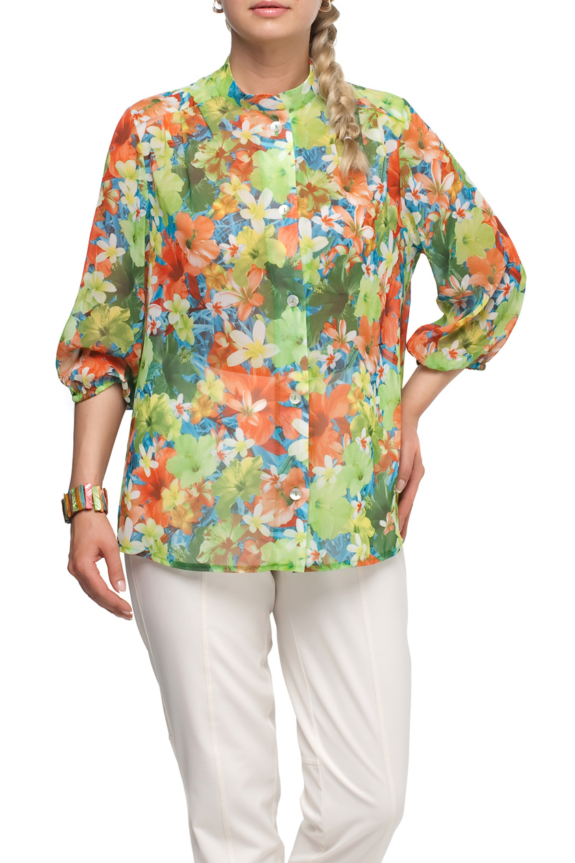 БлузаБлузки<br>Воздушная блузка с рукавами 3/4. Модель выполнена из приятного материала. Отличный выбор для любого случая.  В изделии использованы цвета: зеленый, оранжевый и др.  Рост девушки-фотомодели 173 см.<br><br>Воротник: Стойка<br>Застежка: С пуговицами<br>По материалу: Шифон<br>По рисунку: Растительные мотивы,С принтом,Цветные,Цветочные<br>По сезону: Весна,Зима,Лето,Осень,Всесезон<br>По силуэту: Полуприталенные,Свободные<br>По стилю: Нарядный стиль,Повседневный стиль,Летний стиль<br>Рукав: Рукав три четверти<br>По элементам: С манжетами<br>Размер : 50,54,56,58,62,70<br>Материал: Шифон<br>Количество в наличии: 6