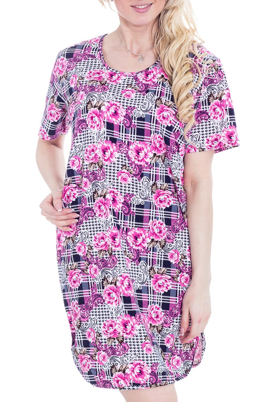 ТуникаТуники<br>Домашняя туника с короткими рукавами. Домашняя одежда, прежде всего, должна быть удобной, практичной и красивой. В тунике Вы будете чувствовать себя комфортно, особенно, по вечерам после трудового дня.  Цвет: розовый, мультицвет.  Рост девушки-фотомодели - 170 см.<br><br>Горловина: С- горловина<br>По рисунку: Цветные,Цветочные,С принтом<br>По сезону: Весна,Зима,Лето,Осень,Всесезон<br>По силуэту: Полуприталенные<br>Рукав: Короткий рукав<br>По материалу: Трикотаж,Хлопок<br>Размер : 44<br>Материал: Трикотаж<br>Количество в наличии: 1