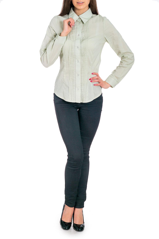 БлузкаРубашки<br>Универсальная блузка с длинными рукавами. Модель выполнена из приятного материала. Отличный выбор для повседневного и делового гардероба.  В изделии использованы цвета: светло-зеленый  Рост девушки-фотомодели 170 см<br><br>Воротник: Рубашечный<br>Застежка: С пуговицами<br>По материалу: Хлопок<br>По образу: Город,Офис,Свидание<br>По рисунку: Однотонные<br>По сезону: Весна,Зима,Лето,Осень,Всесезон<br>По силуэту: Полуприталенные<br>По стилю: Офисный стиль,Повседневный стиль<br>По элементам: С декором,С манжетами<br>Рукав: Длинный рукав<br>Размер : 42,44,46<br>Материал: Хлопок<br>Количество в наличии: 3