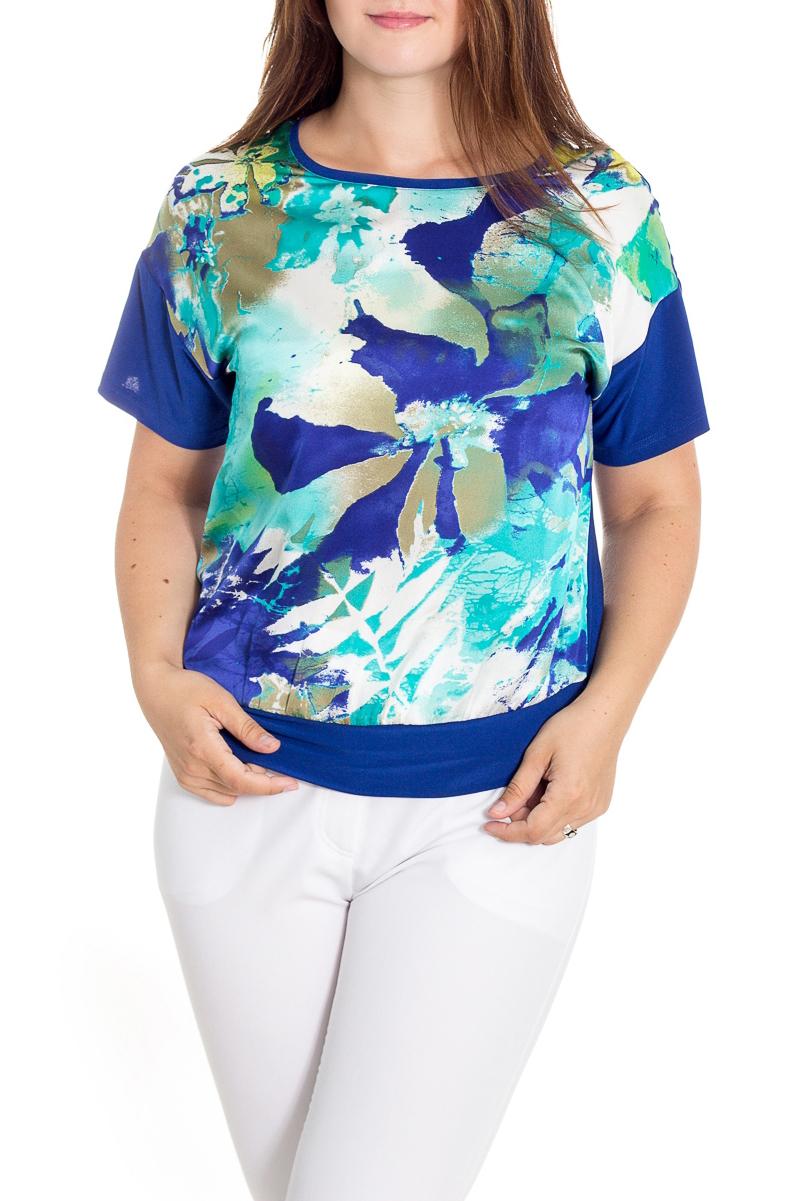 БлузкаБлузки<br>Красивая блузка с короткими рукавами. Модель выполнена из приятного материала. Отличный выбор для любого случая.  В изделии использованы цвета: синий, голубой  Рост девушки-фотомодели 180 см<br><br>Горловина: V- горловина<br>По материалу: Трикотаж,Шелк<br>По рисунку: Растительные мотивы,С принтом,Цветные,Цветочные<br>По сезону: Весна,Зима,Лето,Осень,Всесезон<br>По силуэту: Прямые<br>По стилю: Повседневный стиль<br>Рукав: Короткий рукав<br>Размер : 48-50,58-62,64-68<br>Материал: Холодное масло + Искусственный шелк<br>Количество в наличии: 5