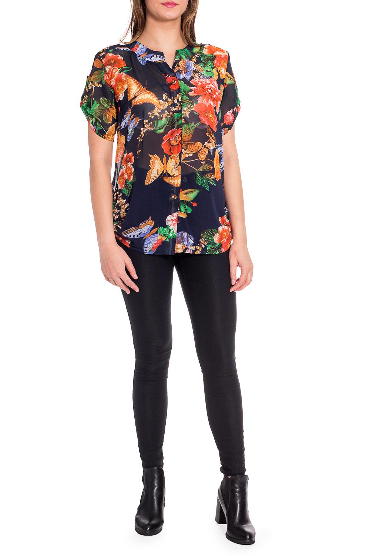 БлузкаБлузки<br>Полупрозрачная блузка с застежкой на молнию. Модель выполнена из воздушного шифона. Отличный выбор для любого случая.  В изделии использованы цвета: темно-синий, оранжевый и др.  Рост девушки-фотомодели 173 см.<br><br>Горловина: Фигурная горловина<br>Застежка: С пуговицами<br>По материалу: Шифон<br>По рисунку: Бабочки,Растительные мотивы,С принтом,Цветные,Цветочные<br>По сезону: Весна,Зима,Лето,Осень,Всесезон<br>По силуэту: Прямые<br>По стилю: Повседневный стиль<br>По элементам: С патами<br>Рукав: Короткий рукав<br>Размер : 50,52,60<br>Материал: Шифон<br>Количество в наличии: 3