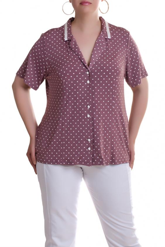 БлузкаБлузки<br>Милая блузка в горошек с короткими рукавами. Модель выполнена из приятного трикотажа. Отличный выбор для повседневного гардероба.  В изделии использованы цвета: розовый, белый  Рост девушки-фотомодели 173 см.<br><br>Воротник: Шалька,Отложной<br>Горловина: V- горловина<br>Застежка: С пуговицами<br>По материалу: Трикотаж<br>По рисунку: В горошек,С принтом,Цветные<br>По сезону: Весна,Зима,Лето,Осень,Всесезон<br>По силуэту: Прямые<br>По стилю: Повседневный стиль,Летний стиль<br>Рукав: Короткий рукав<br>Размер : 60,64,66,68<br>Материал: Холодное масло<br>Количество в наличии: 5