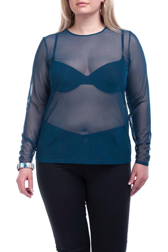 БлузкаЛонгсливы<br>Однотонная блузка с длинными рукавами. Модель выполнена из гипюровой сетки. Отличный выбор для базового гардероба.  Цвет: синий  Рост девушки-фотомодели 173 см.<br><br>Горловина: С- горловина<br>По рисунку: Однотонные<br>По сезону: Весна,Зима,Лето,Осень,Всесезон<br>По силуэту: Приталенные<br>По стилю: Повседневный стиль<br>Рукав: Длинный рукав<br>Размер : 56-58,64-66<br>Материал: Гипюровая сетка<br>Количество в наличии: 2