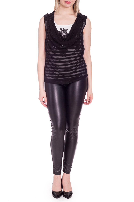 БлузкаБлузки<br>Нарядная блузка без рукавов. Модель выполнена из приятного материала. Отличный выбор для эффектного выхода.  В изделии использованы цвета: черный, белый  Рост девушки-фотомодели 170 см.<br><br>Горловина: С- горловина<br>По материалу: Трикотаж,Шифон<br>По рисунку: С принтом,Цветные<br>По сезону: Весна,Зима,Лето,Осень,Всесезон<br>По силуэту: Полуприталенные<br>По стилю: Вечерний стиль,Нарядный стиль<br>По элементам: С декором<br>Рукав: Без рукавов<br>Размер : 44,46<br>Материал: Трикотаж + Шифон<br>Количество в наличии: 2