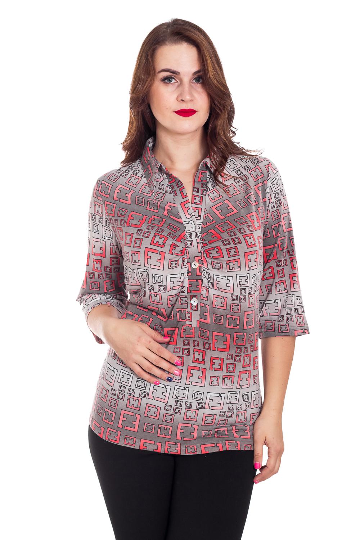БлузкаБлузки<br>Цветная блузка с рубашечным воротником. Модель выполнена из приятного трикотажа. Отличный выбор для повседневного гардероба.  В изделии использованы цвета: серый, коралловый, белый  Рост девушки-фотомодели 180 см.<br><br>Воротник: Рубашечный<br>Горловина: V- горловина<br>Застежка: С пуговицами<br>По материалу: Вискоза<br>По образу: Город<br>По рисунку: С принтом,Цветные<br>По сезону: Весна,Зима,Лето,Осень,Всесезон<br>По силуэту: Прямые<br>По стилю: Повседневный стиль<br>Рукав: Рукав три четверти<br>Размер : 66<br>Материал: Вискоза<br>Количество в наличии: 1