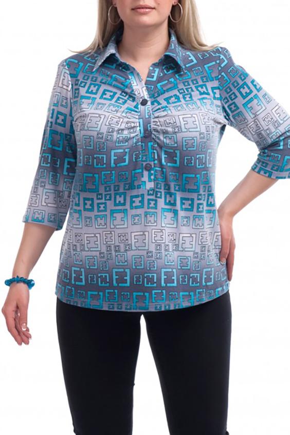 БлузкаБлузки<br>Цветная блузка с рубашечным воротником. Модель выполнена из приятного трикотажа. Отличный выбор для повседневного гардероба.  В изделии использованы цвета: серый, голубой, белый  Рост девушки-фотомодели 173 см.<br><br>Воротник: Рубашечный<br>Горловина: V- горловина<br>По материалу: Вискоза<br>По рисунку: С принтом,Цветные<br>По сезону: Весна,Зима,Лето,Осень,Всесезон<br>По силуэту: Прямые<br>По стилю: Повседневный стиль<br>Рукав: Рукав три четверти<br>Размер : 52,68<br>Материал: Вискоза<br>Количество в наличии: 3