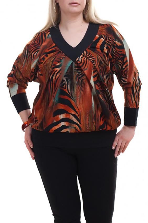 ДжемперДжемперы<br>Цветной джемпер с длинными рукавами. Модель выполнена из мягкого трикотажа. Отличный выбор для любого случая.  В изделии использованы цвета: оранжевый, черный и др.  Рост девушки-фотомодели 173 см.<br><br>По материалу: Трикотаж<br>По рисунку: С принтом,Цветные,Зебра<br>Горловина: V- горловина<br>По силуэту: Полуприталенные<br>По стилю: Повседневный стиль<br>По элементам: С манжетами<br>Рукав: Длинный рукав<br>По сезону: Осень,Весна<br>Размер : 56-58,60-62,64-66<br>Материал: Трикотаж<br>Количество в наличии: 5