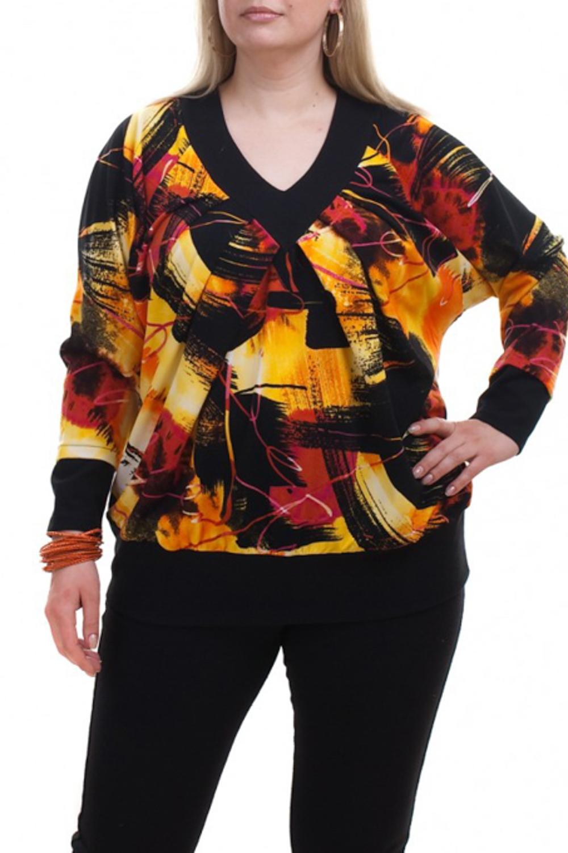 ДжемперДжемперы<br>Цветной джемпер с длинными рукавами. Модель выполнена из мягкого трикотажа. Отличный выбор для любого случая.  В изделии использованы цвета: желтый, красный, черный и др.  Рост девушки-фотомодели 173 см.<br><br>Горловина: V- горловина<br>По материалу: Трикотаж<br>По рисунку: С принтом,Цветные<br>По силуэту: Полуприталенные<br>По стилю: Повседневный стиль<br>По элементам: С манжетами<br>Рукав: Длинный рукав<br>По сезону: Осень,Весна<br>Размер : 56-58<br>Материал: Трикотаж<br>Количество в наличии: 1