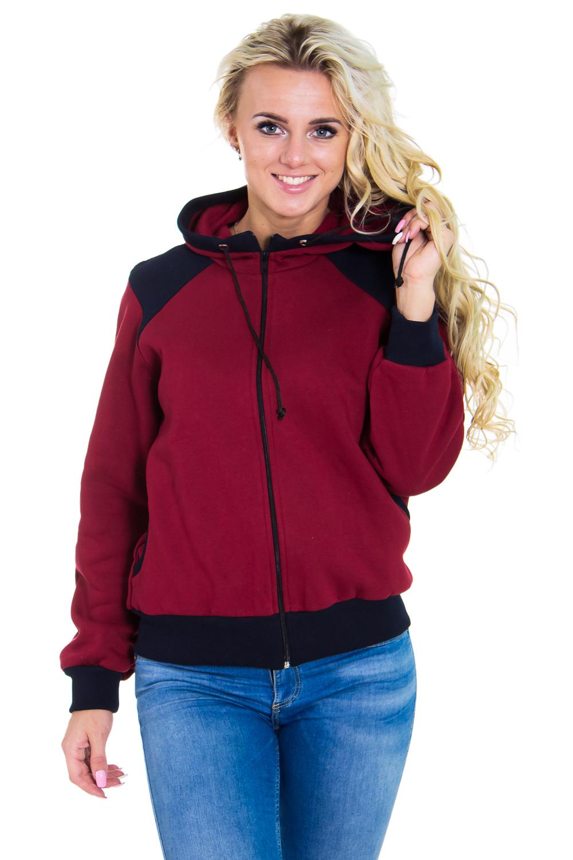 КофтаСпортивные костюмы<br>Теплая женская кофта на молнии с капюшоном и длинными рукавами. Цвет: бордовый, черный.  Рост девушки-фотомодели 170 см<br><br>По образу: Город,Спорт<br>По стилю: Повседневный стиль,Молодежный стиль<br>По материалу: Хлопок<br>По рисунку: Однотонные<br>По сезону: Зима,Осень,Весна<br>По силуэту: Полуприталенные<br>По элементам: С карманами,С манжетами,С воротником,С капюшоном<br>Воротник: Стойка<br>Рукав: Длинный рукав<br>Застежка: С молнией<br>Размер: 46,50,44,48,52<br>Материал: 100% хлопок<br>Количество в наличии: 2