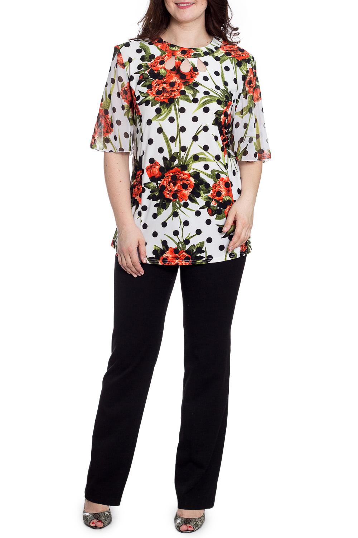 БлузкаБлузки<br>Цветная блузка с круглой горловиной и рукавами до локтя. Модель выполнена из приятного трикотажа. Отличный выбор для любого случая.  В изделии использованы цвета: белый, черный, оранжевый и др.  Рост девушки-фотомодели 180 см.<br><br>Горловина: С- горловина<br>По материалу: Трикотаж<br>По рисунку: В горошек,Растительные мотивы,С принтом,Цветные,Цветочные<br>По сезону: Весна,Зима,Лето,Осень,Всесезон<br>По силуэту: Полуприталенные<br>По стилю: Повседневный стиль<br>По элементам: С декором<br>Рукав: До локтя<br>Размер : 56,58,60,62<br>Материал: Холодное масло<br>Количество в наличии: 4