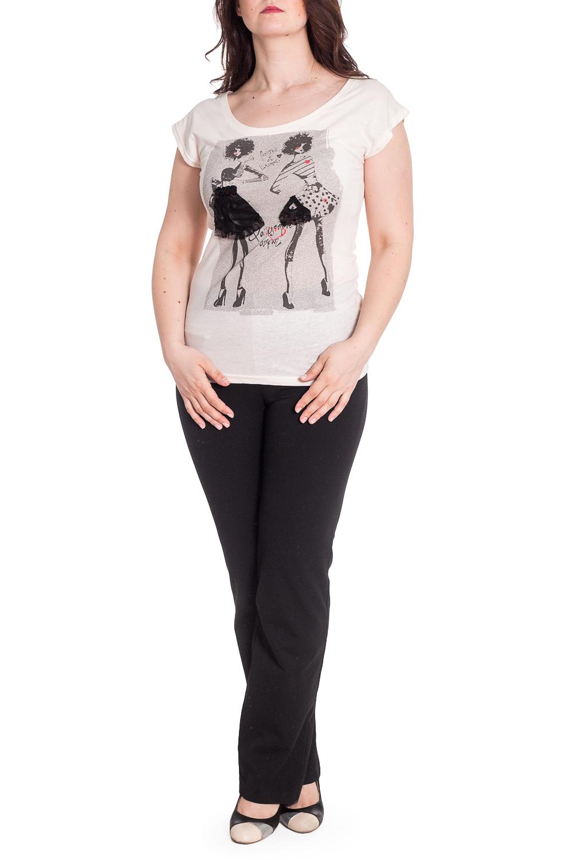 БлузкаБлузки<br>Интересная блузка с забавным принтом. Модель выполнена из приятного трикотажа. Отличный выбор для повседневного гардероба.  В изделии использованы цвете: молочный и др.  Рост девушки-фотомодели 180 см<br><br>Горловина: С- горловина<br>По материалу: Трикотаж,Хлопок<br>По рисунку: С принтом,Цветные<br>По сезону: Весна,Зима,Лето,Осень,Всесезон<br>По силуэту: Полуприталенные<br>По стилю: Повседневный стиль<br>По элементам: С декором<br>Рукав: Короткий рукав<br>Размер : 46-48<br>Материал: Трикотаж<br>Количество в наличии: 1