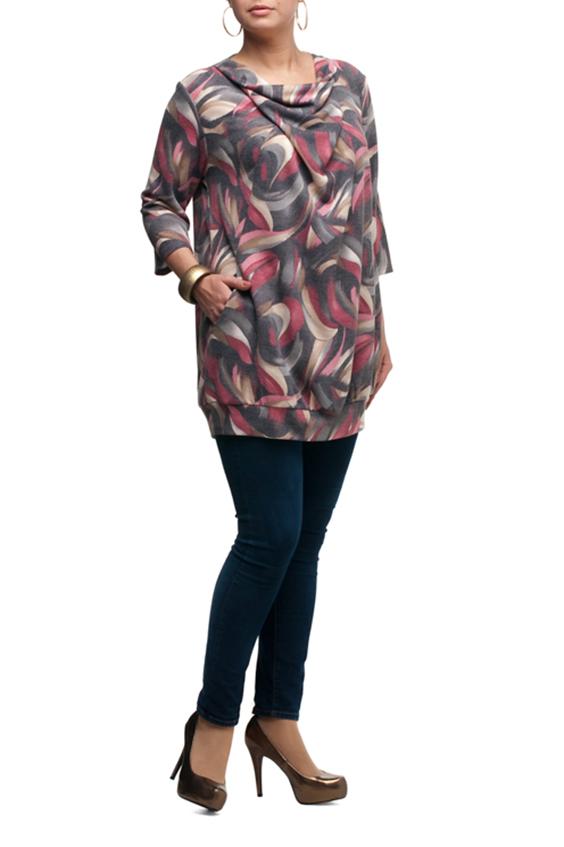 БлузкаТуники<br>Чудесная женская блузка очаровательного дизайна Эта великолепная модель составит роскошный ансамбль в комплекте с леггинсами или модными облегающими брючками  В изделии использованы цвета: серый, розовый, бежевый и др.  Рост девушки-фотомодели 173 см.<br><br>Горловина: Качель<br>По материалу: Трикотаж<br>По рисунку: Абстракция,С принтом,Цветные<br>По силуэту: Свободные<br>По стилю: Повседневный стиль<br>По элементам: С карманами<br>Рукав: Рукав три четверти<br>По сезону: Осень,Весна<br>Размер : 54,56,58,60,62<br>Материал: Трикотаж<br>Количество в наличии: 5