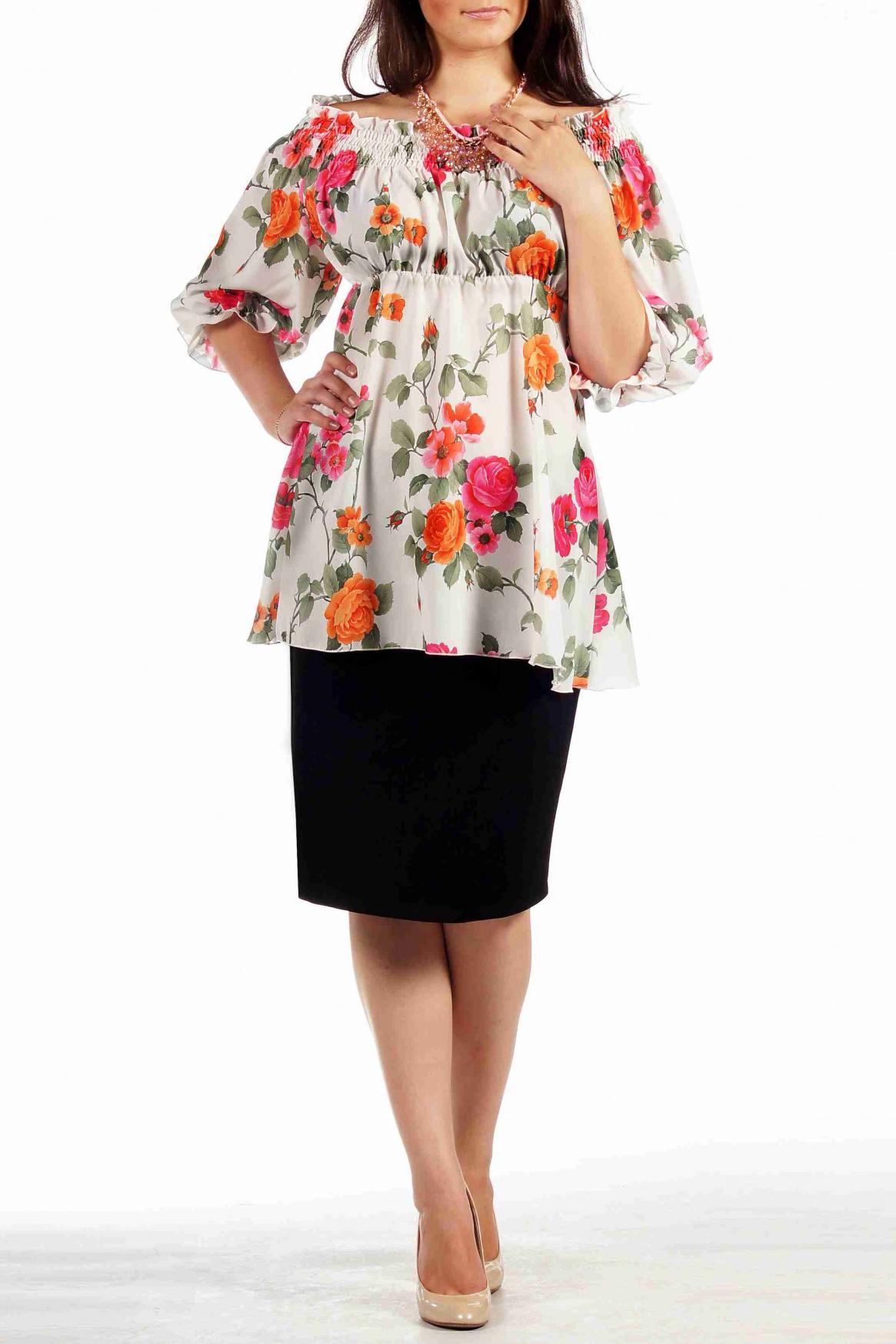 БлузкаБлузки<br>Нежная и женственная блузка из тонкой летящей ткани - прекрасный вариант для работы и роматнических встреч. Блузка отрезная под грудью с расклешеной нижней частью. Благодаря большому объему блузки присобранному рядами строчек нитки-резинки в области горловины создается эффект воздушности изделия при легкой фиксации на теле. За счет такого оформления горловины блузка может носится в двух положениях: оголив плечи или закрыв их. Рукав покроя реглан длиной до локтя на тонкой резинке по низу.  Длина изделия около 68 см.  Цвет: белый, оранжевый, розовый, зеленый  Ростовка изделия 170 см.<br><br>По материалу: Вискоза<br>По рисунку: Растительные мотивы,С принтом,Цветные,Цветочные<br>По сезону: Весна,Зима,Лето,Осень,Всесезон<br>По силуэту: Полуприталенные<br>По стилю: Повседневный стиль<br>Рукав: Рукав три четверти<br>Размер : 48,50,52,56,58<br>Материал: Вискоза<br>Количество в наличии: 5