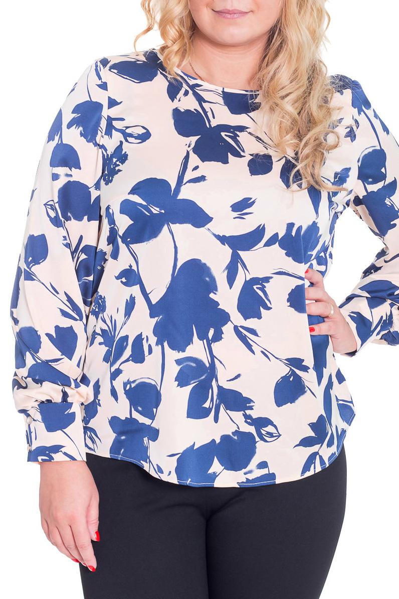 БлузкаБлузки<br>Замечательная блузка с круглой горловиной и длинными рукавами. Модель выполнена из приятного материала. Отличный выбор для любого случая.  Цвет: молочный, синий  Рост девушки-фотомодели 170 см.<br><br>Горловина: С- горловина<br>По материалу: Вискоза,Тканевые<br>По рисунку: Растительные мотивы,Цветные,Цветочные<br>По сезону: Весна,Всесезон,Зима,Лето,Осень<br>По силуэту: Свободные<br>По стилю: Повседневный стиль<br>По элементам: С воланами и рюшами<br>Рукав: Длинный рукав<br>Размер : 46,48,50,52<br>Материал: Блузочная ткань<br>Количество в наличии: 7