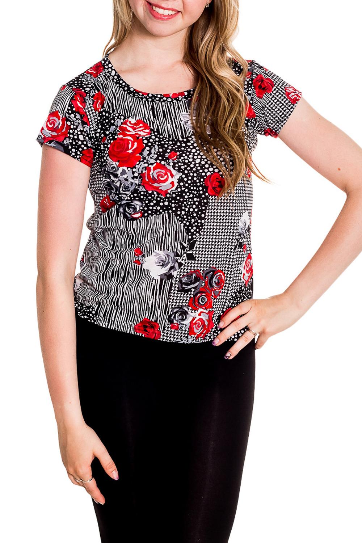 ФутболкаФутболки<br>Хлопковая футболка с короткими рукавами. Домашняя одежда, прежде всего, должна быть удобной, практичной и красивой. В наших изделиях Вы будете чувствовать себя комфортно, особенно, по вечерам после трудового дня.  Цвет: белый, черный, красный  Рост девушки-фотомодели 170 см<br><br>Горловина: С- горловина<br>По рисунку: Растительные мотивы,Цветные,Цветочные,С принтом<br>По сезону: Весна,Зима,Лето,Осень,Всесезон<br>По силуэту: Полуприталенные<br>По форме: Футболки<br>Рукав: Короткий рукав<br>По материалу: Хлопок<br>Размер : 42-44<br>Материал: Хлопок<br>Количество в наличии: 2