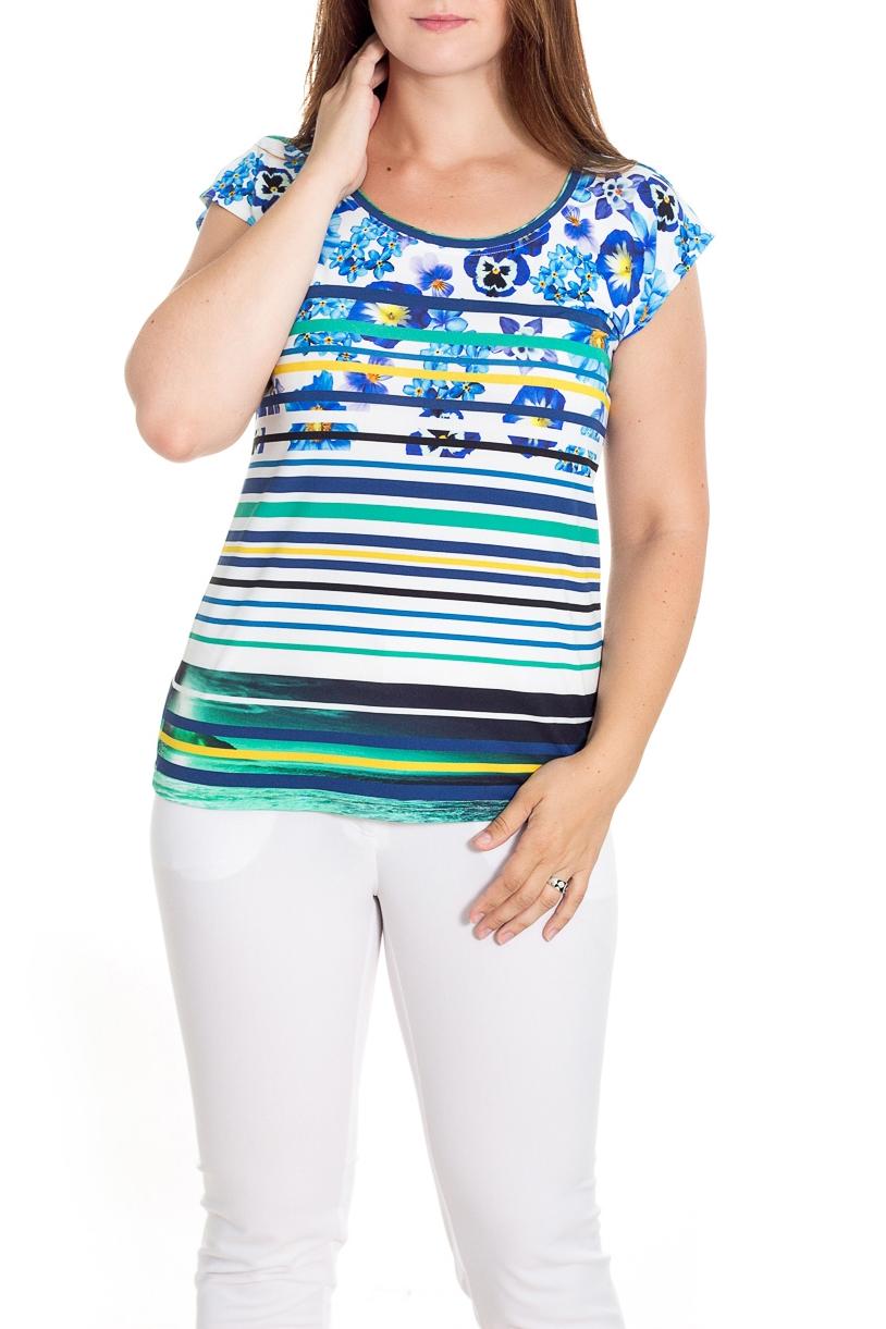 БлузкаБлузки<br>Красивая блузка с короткими рукавами. Модель выполнена из приятного материала. Отличный выбор для любого случая.  В изделии использованы цвета: белый, синий, голубой и др.  Рост девушки-фотомодели 180 см<br><br>Горловина: С- горловина<br>По материалу: Трикотаж<br>По рисунку: В полоску,С принтом,Цветные,Растительные мотивы,Цветочные<br>По сезону: Весна,Зима,Лето,Осень,Всесезон<br>По силуэту: Приталенные<br>По стилю: Повседневный стиль,Летний стиль<br>Рукав: Короткий рукав<br>Размер : 48-50,52-56,58-62,64-68<br>Материал: Холодное масло<br>Количество в наличии: 6