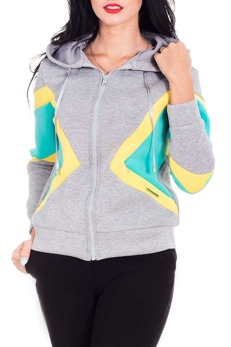 ДжемперСпортивная одежда<br>Удобный джемпер с застежкой на молнию. Модель выполнена из приятного материала. Отличный выбор для занятий спортом или активного отдыха.  В изделии использованы цвета: серый, желтый, бирюзовый  Рост девушки-фотомодели 173 см.<br><br>Застежка: С молнией<br>По материалу: Трикотаж<br>По рисунку: Цветные<br>По силуэту: Полуприталенные<br>По стилю: Повседневный стиль<br>По элементам: С капюшоном,С карманами,С манжетами<br>Рукав: Длинный рукав<br>По сезону: Осень,Весна<br>Размер : 42,46,48,50<br>Материал: Трикотаж<br>Количество в наличии: 4