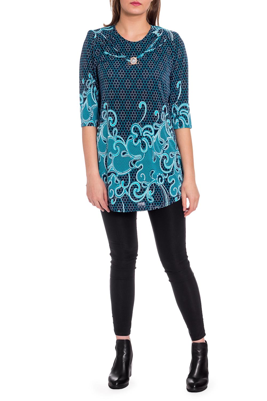 БлузкаБлузки<br>Удлиненная блузка с круглой горловиной и рукавами 3/4. Модель выполнена из приятного трикотжа. Отличный выбор для любого случая.  В изделии использованы цвета: темно-синий, голубой и др.  Рост девушки-фотомодели 173 см.<br><br>Горловина: С- горловина<br>По материалу: Трикотаж<br>По рисунку: С принтом,Цветные<br>По сезону: Весна,Зима,Лето,Осень,Всесезон<br>По силуэту: Полуприталенные<br>По стилю: Повседневный стиль<br>По элементам: С декором,С отделочной фурнитурой<br>Рукав: Рукав три четверти<br>Размер : 50,52,54,56<br>Материал: Холодное масло<br>Количество в наличии: 4