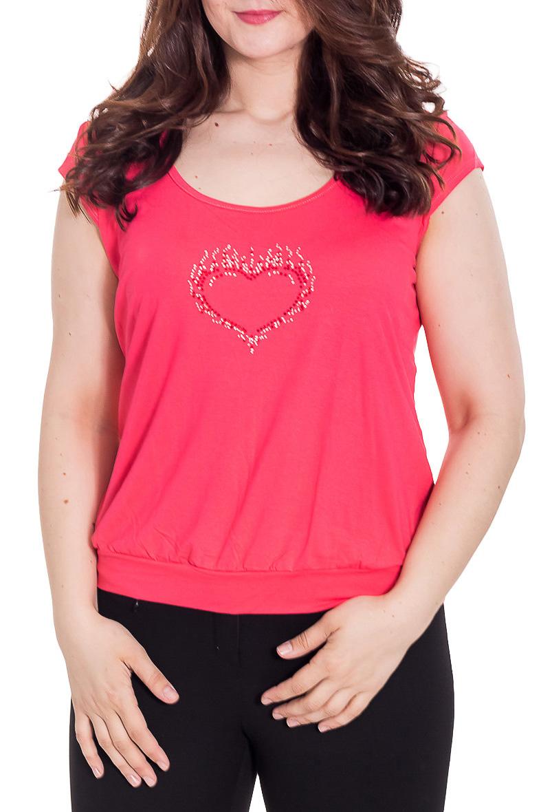 БлузкаБлузки<br>Однотонная женская блузка с короткими рукавами quot;крылышкоquot;. Модель выполнена из приятного трикотажа Отличный выбор для повседневного гардероба.  Цвет: коралловый  Рост девушки-фотомодели 180 см.<br><br>Горловина: С- горловина<br>По материалу: Вискоза<br>По рисунку: Однотонные<br>По сезону: Весна,Зима,Лето,Осень,Всесезон<br>По силуэту: Полуприталенные<br>По стилю: Повседневный стиль,Летний стиль<br>Рукав: Короткий рукав<br>Размер : 52<br>Материал: Вискоза<br>Количество в наличии: 1