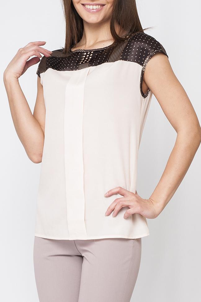 БлузкаБлузки<br>Женская блуза свободно пошива, контраст двух видов тканей и расцветок делает модель более интересной, по переду изделия имеется выделка тканью, по спинке застежка - пуговица.  Цвет: бежевый и кофейный.  Рост девушки-фотомодели 170 см.<br><br>Горловина: С- горловина<br>Застежка: С пуговицами<br>По материалу: Атлас,Шифон<br>По рисунку: Цветные<br>По сезону: Весна,Зима,Лето,Осень,Всесезон<br>По силуэту: Свободные<br>По стилю: Винтаж,Классический стиль,Кэжуал,Летний стиль,Офисный стиль,Повседневный стиль<br>По элементам: С декором<br>Рукав: Короткий рукав<br>Размер : 52<br>Материал: Шифон + Атлас<br>Количество в наличии: 1