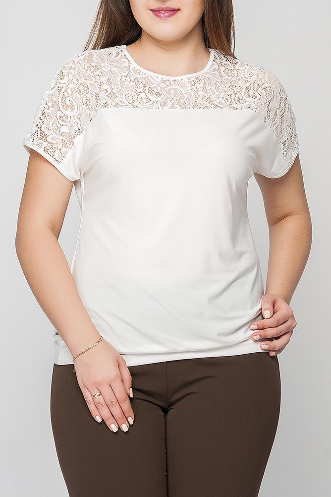 БлузкаБлузки<br>Блузка женская из трикотажной ткани полуприлегающего силуэта с декоративным кружевом. Модель с коротким, спущенным рукавом. Вырез горловины круглый. Блузку легко комбинировать с юбками и брюками разных расцветок. Такая блузка прекрасно подойдет для офисного или делового образа.  Цвет: молочный.  Рост девушки-фотомодели 175 см.<br><br>Горловина: С- горловина<br>По материалу: Блузочная ткань,Гипюр<br>По рисунку: Однотонные<br>По сезону: Весна,Зима,Лето,Осень,Всесезон<br>По силуэту: Полуприталенные<br>По стилю: Винтаж,Офисный стиль,Повседневный стиль,Романтический стиль<br>По элементам: С декором<br>Рукав: Короткий рукав<br>Размер : 48,56,58,62<br>Материал: Блузочная ткань + Гипюр<br>Количество в наличии: 4