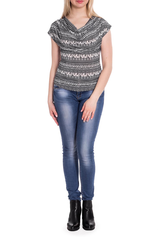 БлузкаБлузки<br>Прекрасная блузка с горловиной quot;качельquot; и короткими рукавами. Модель выполнена из приятного трикотажа. Отличный выбор для повседневного гардероба.  В изделии использованы цвета: белый, черный  Рост девушки-фотомодели 170 см<br><br>Горловина: Качель<br>По материалу: Трикотаж<br>По рисунку: С принтом,Цветные<br>По сезону: Весна,Зима,Лето,Осень,Всесезон<br>По силуэту: Полуприталенные<br>По стилю: Повседневный стиль<br>Рукав: Короткий рукав<br>Размер : 44<br>Материал: Холодное масло<br>Количество в наличии: 1