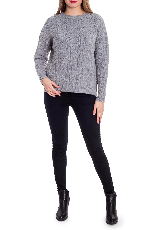 СвитерДжемперы<br>Теплый свитер с ажурной вязкой. Модель выполнена из приятного трикотажа. Отличный выбор для повседневного гардероба.  В изделии использованы цвета: серый  Рост девушки-фотомодели 170 см.<br><br>Горловина: С- горловина<br>По материалу: Вязаные,Трикотаж<br>По рисунку: Однотонные,Фактурный рисунок<br>По сезону: Осень,Зима<br>По силуэту: Прямые<br>По стилю: Повседневный стиль<br>Рукав: Длинный рукав<br>Размер : 42,44,46,48<br>Материал: Вязаное полотно<br>Количество в наличии: 10