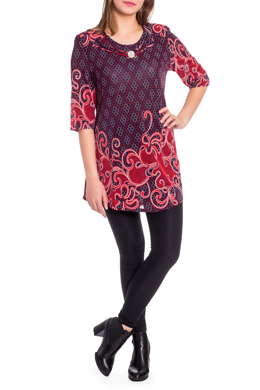 БлузкаБлузки<br>Удлиненная блузка с круглой горловиной и рукавами 3/4. Модель выполнена из приятного трикотжа. Отличный выбор для любого случая.  В изделии использованы цвета: темно-синий, красный и др.  Рост девушки-фотомодели 173 см.<br><br>Горловина: С- горловина<br>По материалу: Трикотаж<br>По рисунку: С принтом,Цветные<br>По сезону: Весна,Зима,Лето,Осень,Всесезон<br>По силуэту: Полуприталенные<br>По стилю: Повседневный стиль<br>По элементам: С декором,С отделочной фурнитурой<br>Рукав: Рукав три четверти<br>Размер : 50,52,54<br>Материал: Холодное масло<br>Количество в наличии: 3