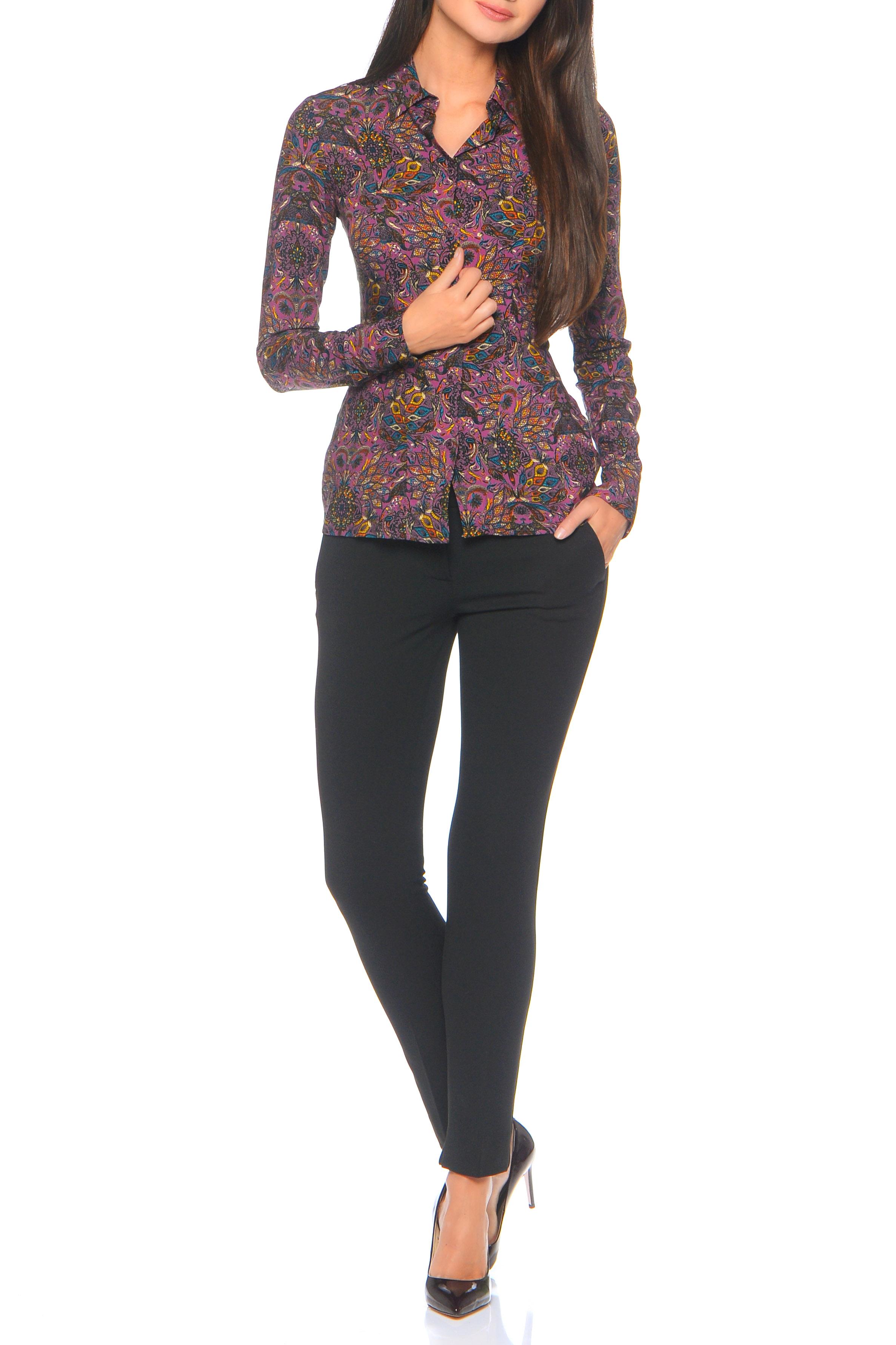 БлузкаРубашки<br>Блузка-рубашка прилегающего силуэта с вертикальным рядом пуговиц спереди, прямым воротником на стойке и длинным рукавом с отложной манжетой, которая помогает легко quot;наращиватьquot; длину рукава. Универсальная длина рубашки до бедра позволяет высоким девушкам носить ее на выпуск, а миниатюрным заправляя в брюки и юбку. Неоспоримый плюс: изящный восточный quot;витражныйquot; принт. Все это очень легко комбинируется с базовыми вещами гардероба, не зависимо от сезона. Внимание Блуза облегающего силуэта.   Ростовка изделия 170 см.  В изделии использованы цвета: фиолетовый и др.  Параметры размеров: 42 размер соответствует обхвату груди 80 см;  44 размер соответствует обхвату груди 84 см;  46 размер соответствует обхвату груди 88 см;  48 размер соответствует обхвату груди 92 см;  50 размер соответствует обхвату груди 98 см;  52 размер соответствует обхвату груди 100 см;  54 размер соответствует обхвату груди 100 см.<br><br>Воротник: Рубашечный<br>Застежка: С пуговицами<br>По материалу: Вискоза,Тканевые<br>По рисунку: С принтом,Цветные,Этнические<br>По сезону: Весна,Зима,Лето,Осень,Всесезон<br>По силуэту: Приталенные<br>По стилю: Повседневный стиль<br>По элементам: С манжетами<br>Рукав: Длинный рукав<br>Размер : 44,46<br>Материал: Вискоза<br>Количество в наличии: 2