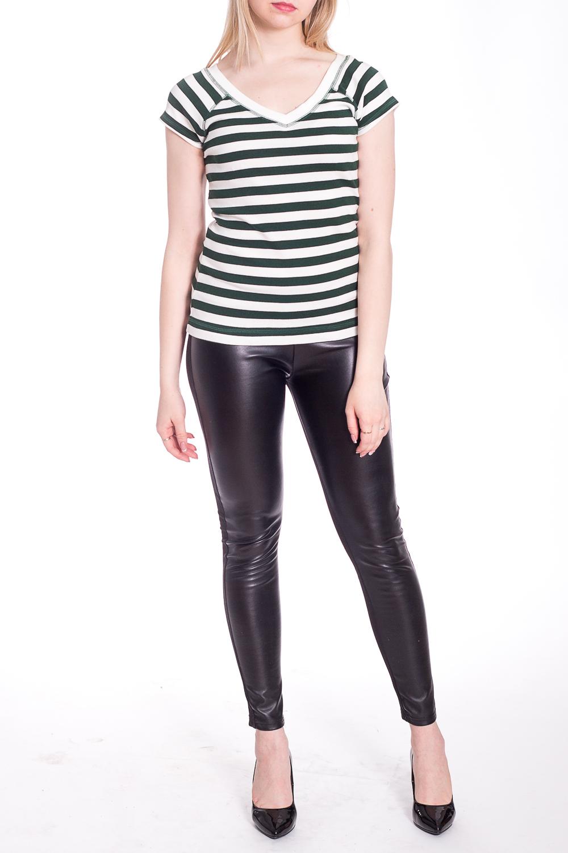 БлузкаБлузки<br>Цветная блузка с короткими рукавами. Модель выполнена из приятного материала. Отличный выбор для повседневного гардероба.В изделии использованы цвета: зеленый, белыйРост девушки-фотомодели 170 см.<br><br>Горловина: V- горловина<br>Рукав: Короткий рукав<br>Материал: Трикотаж,Хлопок<br>Рисунок: В полоску,Цветные<br>Сезон: Весна,Всесезон,Зима,Лето,Осень<br>Силуэт: Приталенные<br>Стиль: Повседневный стиль<br>Размер : 44,46,48<br>Материал: Трикотаж<br>Количество в наличии: 3