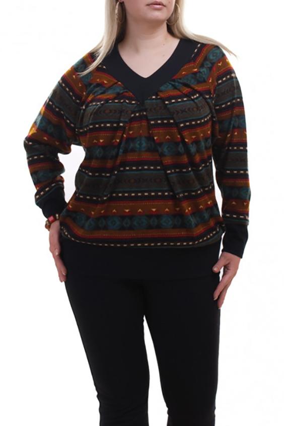 ДжемперДжемперы<br>Цветной джемпер с длинными рукавами. Модель выполнена из мягкого трикотажа. Отличный выбор для любого случая.  В изделии использованы цвета: оранжевый, голубой, черный и др.  Рост девушки-фотомодели 173 см.<br><br>Горловина: V- горловина<br>По материалу: Трикотаж<br>По образу: Город<br>По рисунку: С принтом,Цветные<br>По силуэту: Полуприталенные<br>По стилю: Повседневный стиль<br>По элементам: С манжетами<br>Рукав: Длинный рукав<br>По сезону: Осень,Весна<br>Размер : 64-66<br>Материал: Трикотаж<br>Количество в наличии: 2