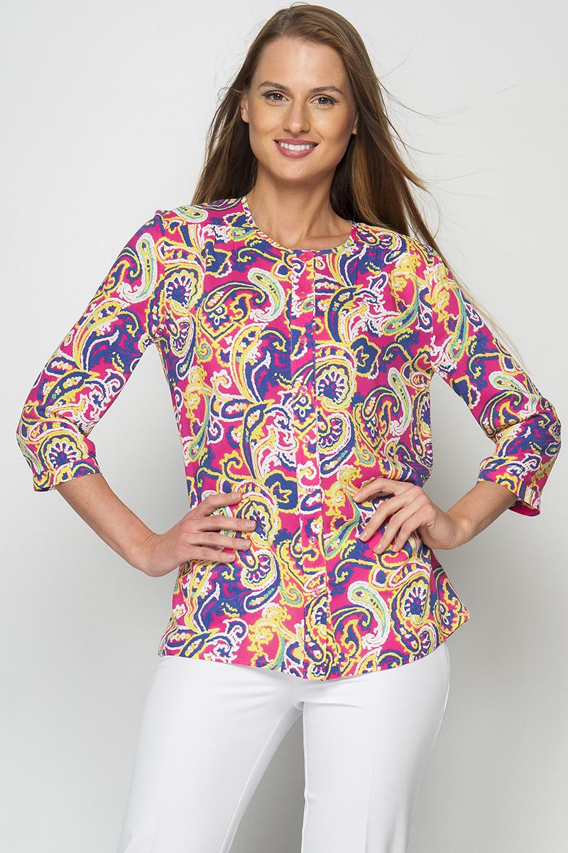 РубашкаБлузки<br>Женская рубашка, выполненная из хлопка свободного силуэта, по переду изделия расположены застежки-пуговицы. Яркая блуза составит гармоничный комплект с однотонными брюками и юбками. Отличный выбор для создания элегантного образа. Принт купонный, расположение рисунка может меняться..  Цвет: мультицвет.  Рост девушки-фотомодели 175 см.<br><br>Горловина: С- горловина<br>Застежка: С пуговицами<br>По материалу: Хлопок<br>По рисунку: Растительные мотивы,С принтом,Цветные,Этнические<br>По сезону: Весна,Зима,Лето,Осень,Всесезон<br>По силуэту: Свободные<br>По стилю: Повседневный стиль<br>По элементам: С манжетами<br>Рукав: Рукав три четверти<br>Размер : 60<br>Материал: Хлопок<br>Количество в наличии: 1