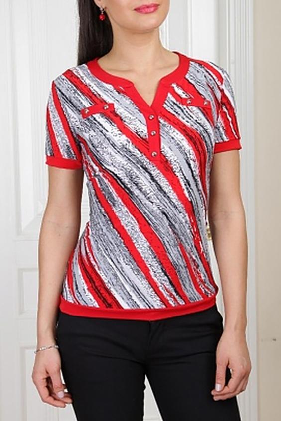 БлузкаБлузки<br>Восхитительная блузка с короткими рукавами. Модель выполнена из приятного материала. Отличный выбор для любого случая.  Цвет: красный, белый, черный  Параметры (обхват груди; обхват талии; обхват бедер): 44 размер - 88; 66,4; 96 см 46 размер - 92; 70,6; 100 см 48 размер - 96; 74,2; 104 см 50 размер - 100; 90; 106 см 52 размер - 104; 94; 110 см 54-56 размер - 108-112; 98-102; 114-118 см 58-60 размер - 116-120; 106-110; 124-130 см<br><br>Застежка: С пуговицами<br>По материалу: Трикотаж<br>По рисунку: В полоску,С принтом,Цветные<br>По сезону: Весна,Зима,Лето,Осень,Всесезон<br>По силуэту: Полуприталенные<br>По стилю: Повседневный стиль,Летний стиль<br>По элементам: С декором,С манжетами<br>Рукав: Короткий рукав<br>Горловина: Фигурная горловина<br>Размер : 50<br>Материал: Холодное масло<br>Количество в наличии: 1