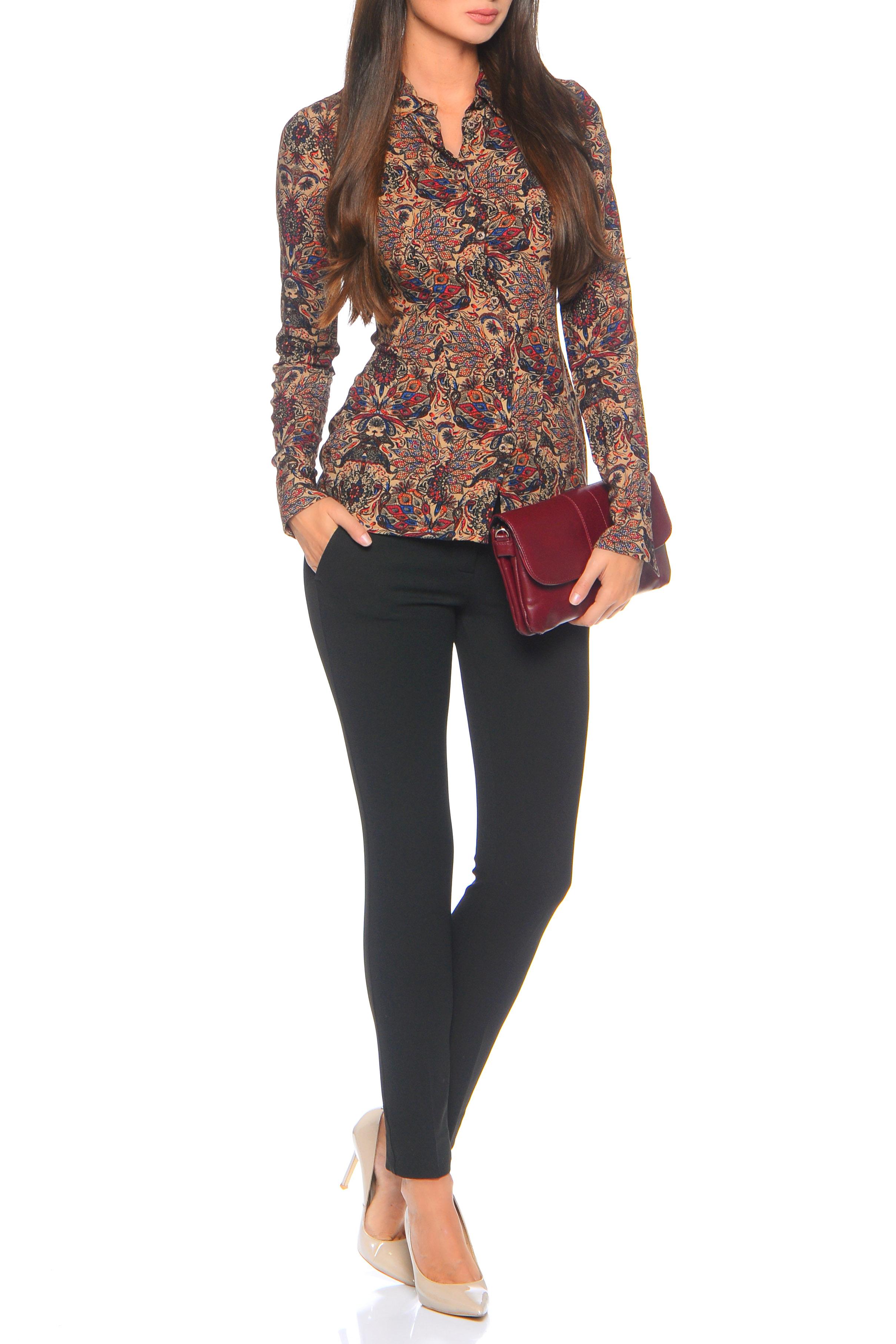 БлузкаРубашки<br>Блузка-рубашка прилегающего силуэта с вертикальным рядом пуговиц спереди, прямым воротником на стойке и длинным рукавом с отложной манжетой, которая помогает легко наращивать длину рукава. Универсальная длина рубашки до бедра позволяет высоким девушкам носить ее на выпуск, а миниатюрным заправляя в брюки и юбку. Неоспоримый плюс: изящный восточный витражный принт. Все это очень легко комбинируется с базовыми вещами гардероба, не зависимо от сезона. Внимание Блуза облегающего силуэта.   Ростовка изделия 170 см.  В изделии использованы цвета: бежевый и др.  Параметры размеров: 42 размер соответствует обхвату груди 80 см;  44 размер соответствует обхвату груди 84 см;  46 размер соответствует обхвату груди 88 см;  48 размер соответствует обхвату груди 92 см;  50 размер соответствует обхвату груди 98 см;  52 размер соответствует обхвату груди 100 см;  54 размер соответствует обхвату груди 100 см.<br><br>Воротник: Рубашечный<br>Застежка: С пуговицами<br>По материалу: Вискоза,Тканевые<br>По рисунку: С принтом,Цветные,Этнические<br>По сезону: Весна,Зима,Лето,Осень,Всесезон<br>По силуэту: Приталенные<br>По стилю: Повседневный стиль<br>По элементам: С манжетами<br>Рукав: Длинный рукав<br>Размер : 44,46,48<br>Материал: Вискоза<br>Количество в наличии: 3