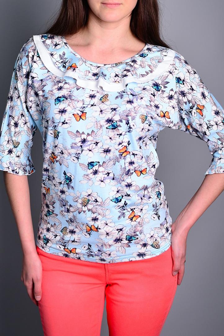 БлузаБлузки<br>Цветная блузка полуприталенного силуэта. Модель выполнена из приятного материала. Отличный выбор для повседневного гардероба.  В изделии использованы цвета: голубой, розовый и др.  Ростовка изделия 164 см.<br><br>Горловина: С- горловина<br>По материалу: Вискоза<br>По рисунку: Бабочки,С принтом,Цветные<br>По сезону: Весна,Зима,Лето,Осень,Всесезон<br>По силуэту: Полуприталенные<br>По стилю: Повседневный стиль<br>По элементам: С воланами и рюшами<br>Рукав: Рукав три четверти<br>Размер : 44,46,48,50<br>Материал: Вискоза<br>Количество в наличии: 4