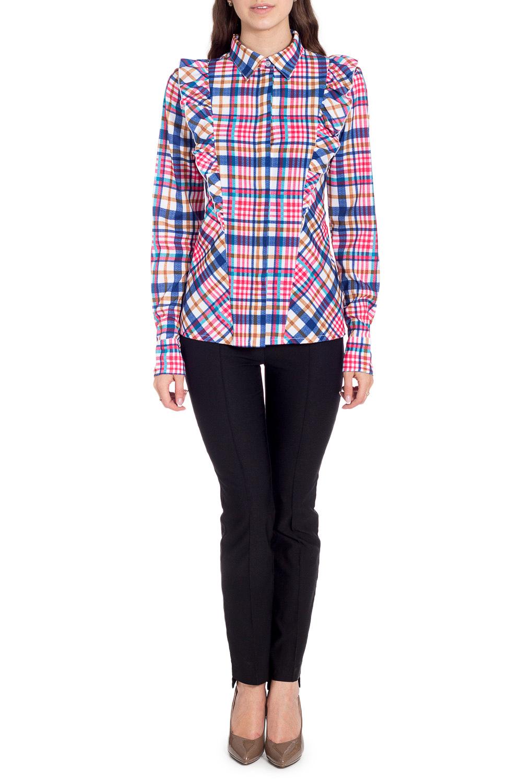 БлузкаРубашки<br>Цветная блузка с длинными рукавами. Модель выполнена из приятного материала. Отличный выбор для любого случая.  В изделии использованы цвета: розовый, синий и др.  Рост девушки-фотомодели 170 см<br><br>Воротник: Рубашечный<br>Застежка: С пуговицами<br>По материалу: Вискоза,Тканевые<br>По рисунку: В клетку,С принтом,Цветные<br>По сезону: Весна,Зима,Лето,Осень,Всесезон<br>По силуэту: Полуприталенные<br>По стилю: Повседневный стиль<br>По элементам: С воланами и рюшами,С манжетами<br>Рукав: Длинный рукав<br>Размер : 44,46,48,50,52<br>Материал: Блузочная ткань<br>Количество в наличии: 5
