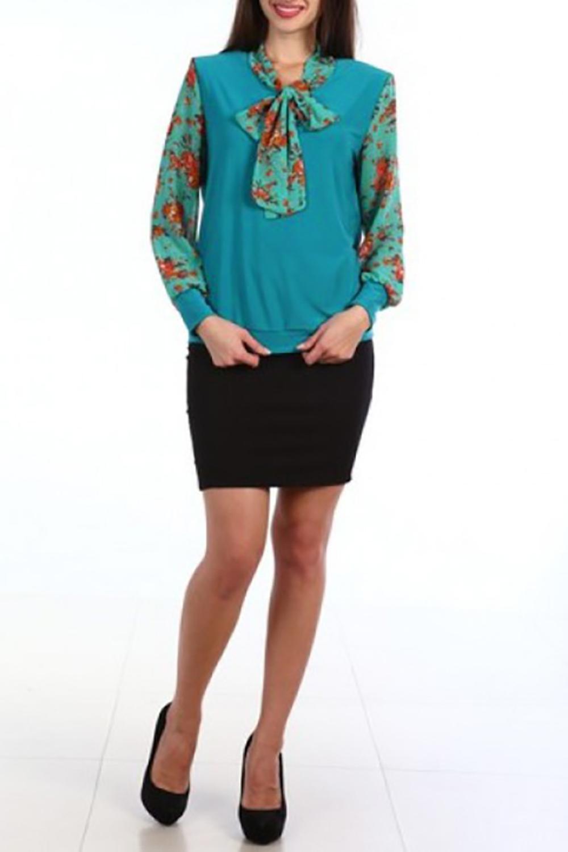 БлузкаБлузки<br>Чудесная блузка с декоративным бантом. Модель выполнена из приятного материала. Отличный выбор для любого случая.  В изделии использованы цвета: бирюзовый, оранжевый и др.  Ростовка изделия 170 см.<br><br>По материалу: Трикотаж,Шифон<br>По рисунку: Растительные мотивы,С принтом,Цветные,Цветочные<br>По сезону: Весна,Зима,Лето,Осень,Всесезон<br>По силуэту: Полуприталенные<br>По стилю: Повседневный стиль<br>По элементам: С манжетами<br>Рукав: Длинный рукав<br>Размер : 48,54<br>Материал: Холодное масло + Шифон<br>Количество в наличии: 2