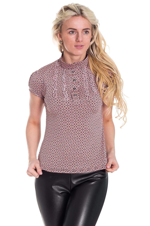 БлузкаБлузки<br>Ключевой элемент романтичного, женственного образа: блуза, выполненная из тонкого вискозного полотна. Полуприлегающий силуэт, небольшой воротник-стойка – все это создает целостную, гармоничную картину. Ну, а самый яркий штрих – крошечные нежные рюши, которыми украшена полочка изделия.   Цвет: розовый, черный  Рост девушки-фотомодели 170 см.<br><br>Воротник: Стойка<br>Застежка: С пуговицами<br>По материалу: Вискоза,Трикотаж<br>По образу: Город,Свидание<br>По рисунку: В полоску,Геометрия,Цветные<br>По сезону: Весна,Всесезон,Зима,Лето,Осень<br>По силуэту: Полуприталенные<br>По стилю: Повседневный стиль<br>По элементам: С воланами и рюшами,С манжетами<br>Рукав: Короткий рукав<br>Размер : 42,44,46,48,50,52,54<br>Материал: Холодное масло<br>Количество в наличии: 3