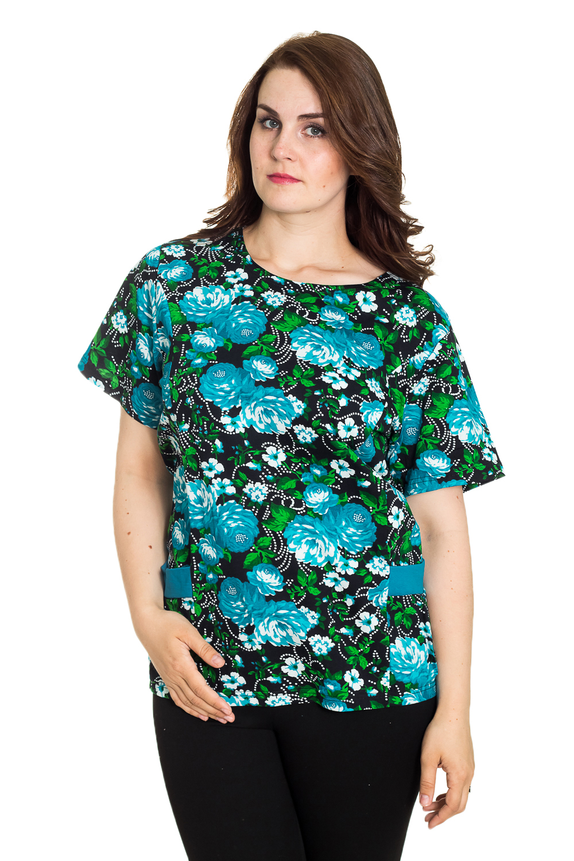 ДжемперТуники<br>Домашний джемпер с круглой горловиной и короткими рукавами. Домашняя одежда, прежде всего, должна быть удобной, практичной и красивой. В джемпере Вы будете чувствовать себя комфортно, особенно, по вечерам после трудового дня.  Цвет: бирюзовый, черный, зеленый.  Рост девушки-фотомодели 180 см.<br><br>Горловина: С- горловина<br>По длине: Удлиненные<br>По рисунку: Цветные,Цветочные,С принтом<br>По сезону: Весна,Зима,Лето,Осень,Всесезон<br>По силуэту: Полуприталенные<br>По элементам: С карманами<br>Рукав: Короткий рукав<br>По материалу: Хлопок<br>Размер : 56<br>Материал: Хлопок<br>Количество в наличии: 1