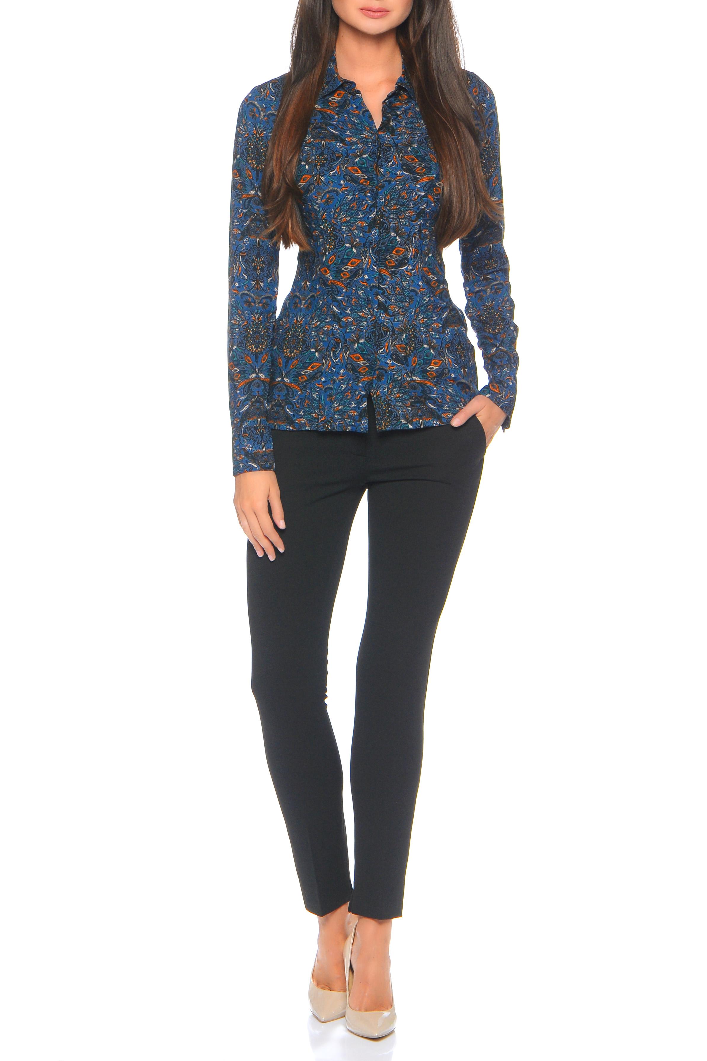 БлузкаРубашки<br>Блузка-рубашка прилегающего силуэта с вертикальным рядом пуговиц спереди, прямым воротником на стойке и длинным рукавом с отложной манжетой, которая помогает легко quot;наращиватьquot; длину рукава. Универсальная длина рубашки до бедра позволяет высоким девушкам носить ее на выпуск, а миниатюрным заправляя в брюки и юбку. Неоспоримый плюс: изящный восточный quot;витражныйquot; принт. Все это очень легко комбинируется с базовыми вещами гардероба, не зависимо от сезона. Внимание Блуза облегающего силуэта.   Ростовка изделия 170 см.  В изделии использованы цвета: синий, оранжевый и др.  Параметры размеров: 42 размер соответствует обхвату груди 80 см;  44 размер соответствует обхвату груди 84 см;  46 размер соответствует обхвату груди 88 см;  48 размер соответствует обхвату груди 92 см;  50 размер соответствует обхвату груди 98 см;  52 размер соответствует обхвату груди 100 см;  54 размер соответствует обхвату груди 100 см.<br><br>Воротник: Рубашечный<br>Застежка: С пуговицами<br>По материалу: Вискоза,Тканевые<br>По рисунку: С принтом,Цветные,Этнические<br>По сезону: Весна,Зима,Лето,Осень,Всесезон<br>По силуэту: Приталенные<br>По стилю: Повседневный стиль<br>По элементам: С манжетами<br>Рукав: Длинный рукав<br>Размер : 44,46,48<br>Материал: Вискоза<br>Количество в наличии: 3
