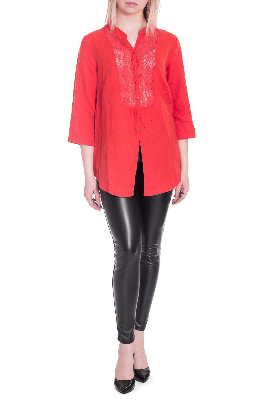 БлузкаБлузки<br>Однотонная блузка прямого силуэта. Модель выполнена из натурального льна. Отличный выбор для любого случая.  В изделии использованы цвета: красно-оранжевый  Рост девушки-фотомодели 170 см<br><br>Горловина: V- горловина<br>По материалу: Лен<br>По рисунку: Однотонные<br>По сезону: Весна,Зима,Лето,Осень,Всесезон<br>По силуэту: Прямые<br>По стилю: Повседневный стиль<br>Рукав: Рукав три четверти<br>Размер : 46-48<br>Материал: Лен<br>Количество в наличии: 1