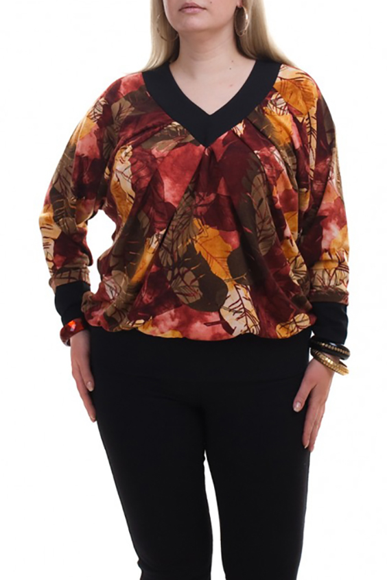 ДжемперДжемперы<br>Цветной джемпер с длинными рукавами. Модель выполнена из мягкого трикотажа. Отличный выбор для любого случая.  В изделии использованы цвета: красный, оранжевый, коричневый, черный и др.  Рост девушки-фотомодели 173 см.<br><br>Горловина: V- горловина<br>По материалу: Трикотаж<br>По рисунку: Растительные мотивы,С принтом,Цветные<br>По силуэту: Полуприталенные<br>По стилю: Повседневный стиль<br>По элементам: С манжетами<br>Рукав: Длинный рукав<br>По сезону: Осень,Весна<br>Размер : 56-58,64-66<br>Материал: Трикотаж<br>Количество в наличии: 3
