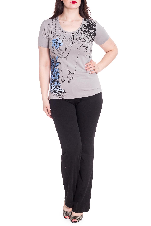БлузкаБлузки<br>Цветная блузка с круглой горловиной и короткими рукавами. Модель выполнена из приятного материала. Отличный выбор для любого случая.  В изделии использованы цвета: серый и др.  Рост девушки-фотомодели 180 см<br><br>Горловина: С- горловина<br>По материалу: Вискоза<br>По рисунку: Растительные мотивы,С принтом,Цветные,Цветочные<br>По сезону: Весна,Зима,Лето,Осень,Всесезон<br>По силуэту: Полуприталенные<br>По стилю: Повседневный стиль<br>Рукав: Короткий рукав<br>Размер : 50<br>Материал: Вискоза<br>Количество в наличии: 1