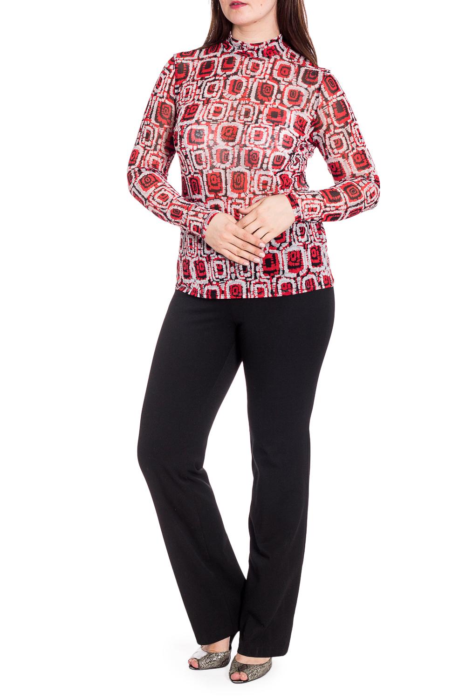 БлузкаБлузки<br>Цветная блузка с длинными рукавами. Модель выполнена из гипюровой сетки. Отличный выбор для повседневного гардероба.  В изделии использованы цвета: красный, белый и др.  Рост девушки-фотомодели 180 см<br><br>Воротник: Стойка<br>По материалу: Гипюровая сетка<br>По рисунку: С принтом,Цветные<br>По сезону: Весна,Зима,Лето,Осень,Всесезон<br>По силуэту: Приталенные<br>По стилю: Повседневный стиль<br>Рукав: Длинный рукав<br>Размер : 50,54<br>Материал: Гипюровая сетка<br>Количество в наличии: 4