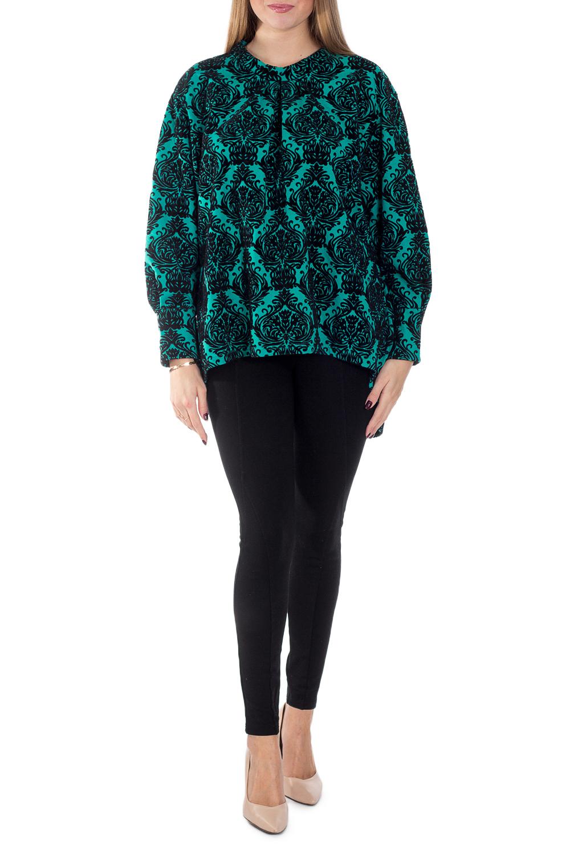 Джемпер-пончоДжемперы<br>Модель свободного силуэта с длинным рукавом. Отлично смотрится с брюками, джеггинсами или джинсами.  В изделии использованы цвета: бирюзовый, черный  Рост девушки-фотомодели 170 см.<br><br>По материалу: Трикотаж,Хлопок<br>По рисунку: С принтом,Цветные<br>По сезону: Осень,Зима<br>По силуэту: Свободные<br>По стилю: Кэжуал,Молодежный стиль,Повседневный стиль<br>По элементам: С манжетами,С фигурным низом<br>Рукав: Длинный рукав<br>Размер : 44<br>Материал: Трикотаж<br>Количество в наличии: 2