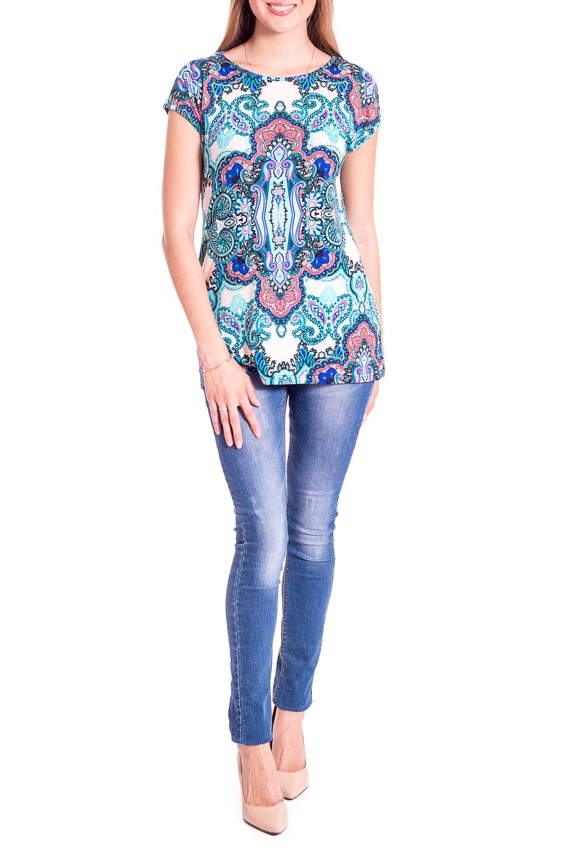БлузкаБлузки<br>Удлиненная блузка с короткими рукавами. Модель выполнена из мягкой вискозы. Отличный выбор для любого случая.В изделии используются цвета: белый, бирюзовый, розовый и др.Рост девушки-фотомодели 170 см<br><br>Горловина: С- горловина<br>Рукав: Короткий рукав<br>Материал: Вискоза<br>Рисунок: С принтом,Цветные<br>Сезон: Весна,Всесезон,Зима,Лето,Осень<br>Силуэт: Полуприталенные<br>Стиль: Летний стиль,Повседневный стиль<br>Размер : 44,46,48,50,52,54<br>Материал: Вискоза<br>Количество в наличии: 6