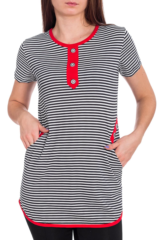 ТуникаТуники<br>Хлопковая туника с короткими рукавами. Домашняя одежда, прежде всего, должна быть удобной, практичной и красивой. В тунике Вы будете чувствовать себя комфортно, особенно, по вечерам после трудового дня.  В изделии использованы цвета: белый, черный, красный  Рост девушки-фотомодели 173 см.<br><br>Горловина: С- горловина<br>По материалу: Хлопок<br>По рисунку: В полоску,С принтом,Цветные<br>По сезону: Весна,Зима,Лето,Осень,Всесезон<br>По силуэту: Полуприталенные<br>Рукав: Короткий рукав<br>Размер : 42,44,46,48,50<br>Материал: Хлопок<br>Количество в наличии: 8