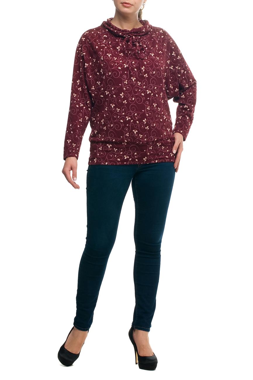 БлузкаБлузки<br>Стильная и элегантная женская блузка. Прекрасно подойдет как для повседневного ношения, так и для торжественных мероприятий. Создайте очаровательный комплект, дополнив блузу подходящим низом: брюками или юбками. А подобрав яркое украшение, вы легко сможете превратить обычную блузу в праздничный наряд, привлекающий взгляды окружающих. Данная модель очень хорошо смотрится на любой фигуре, помогая скрыть маленькие недостатки. Отличное качество и разумная цена – оптимальный выбор современных женщин  В изделии использованы цвета: бордовый, белый  Рост девушки-фотомодели 173 см.<br><br>Воротник: Хомут<br>По материалу: Вискоза,Трикотаж<br>По рисунку: Растительные мотивы,С принтом,Цветные<br>По сезону: Весна,Зима,Лето,Осень,Всесезон<br>По силуэту: Полуприталенные<br>По стилю: Повседневный стиль<br>Рукав: Длинный рукав<br>Размер : 48,52,58,62,66,68,70<br>Материал: Трикотаж<br>Количество в наличии: 7