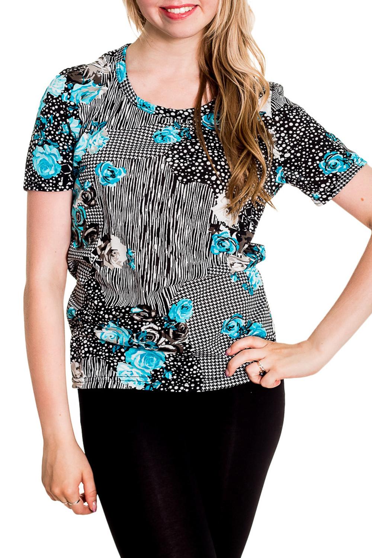 ФутболкаФутболки<br>Хлопковая футболка с короткими рукавами. Домашняя одежда, прежде всего, должна быть удобной, практичной и красивой. В наших изделиях Вы будете чувствовать себя комфортно, особенно, по вечерам после трудового дня.  Цвет: белый, черный, голубой  Рост девушки-фотомодели 170 см<br><br>Горловина: С- горловина<br>По рисунку: Растительные мотивы,Цветные,Цветочные,С принтом<br>По сезону: Весна,Зима,Лето,Осень,Всесезон<br>По силуэту: Полуприталенные<br>По форме: Футболки<br>Рукав: Короткий рукав<br>По материалу: Хлопок<br>Размер : 42-44<br>Материал: Хлопок<br>Количество в наличии: 1